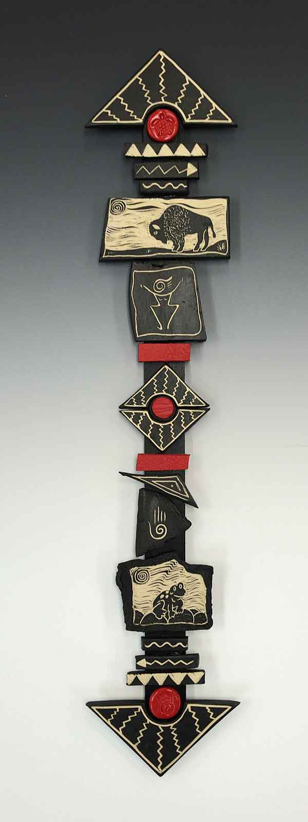 Totem stick black white and red sgraffito