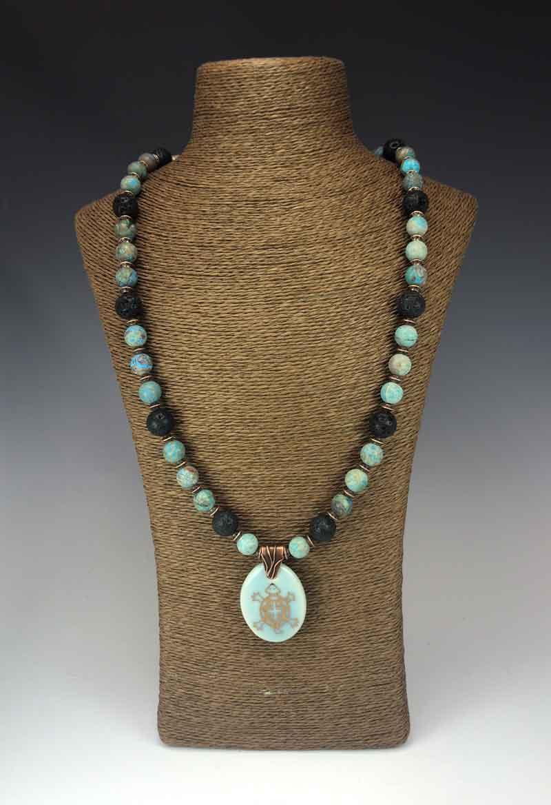 Blue Mushroom necklace